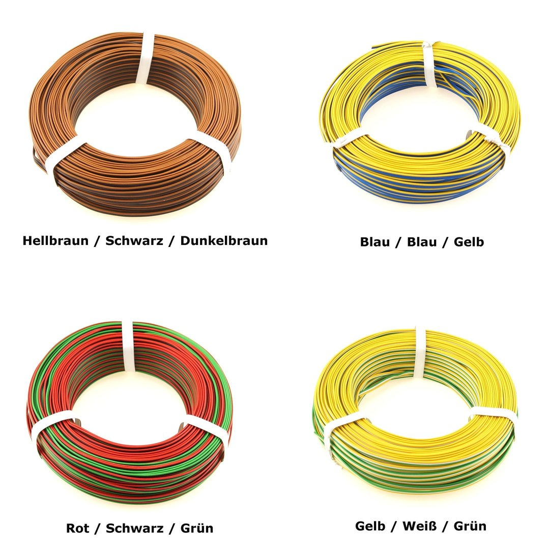 50m Kabel Litze Drillingslitze 3x0,14mm² grün//weiß//gelb 50 Meter Schaltlitze