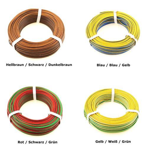 0,14; 3 x 5m Ring; gelb//braun; neu Modellbahnlitze 2-adrig 1m=0,40€