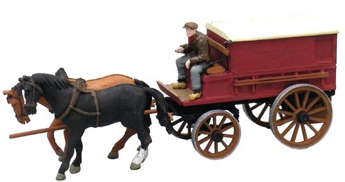 Covered Farmer's Wagon, 2 Horses, 1 Driver, 1:87, ready made, painted (AR  387 64)